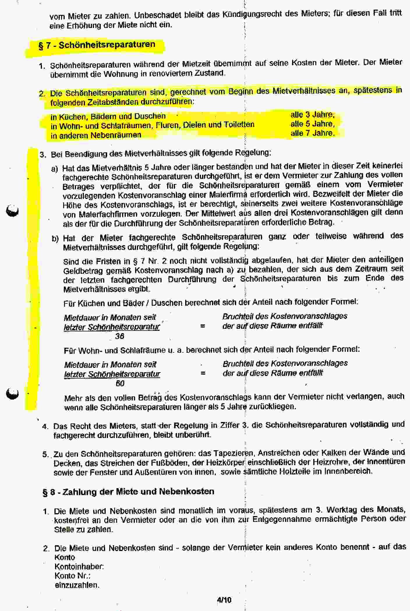 Schonheitsreparaturklausel In Mietvertragen Unwirksamkeit Starrer